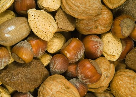 Close up of assorted mixed nuts.