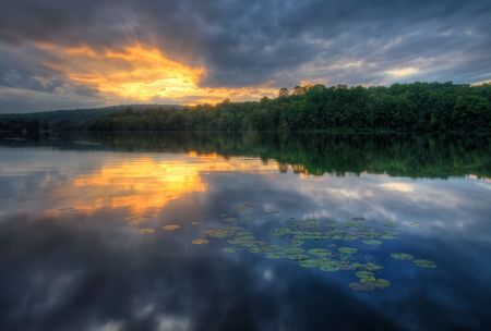 Sunset at Hopewell Lake, French Creek State Park, Pennsylvania (USA) Stock Photo