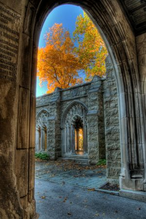 forge: A view of Autumn from within the Washington Memorial Chapel at Valley Forge, Pennsylvania.