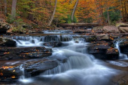 Autumn arrives at Kitchen Creek, Ricketts Glen State Park Pennsylania. Stock Photo