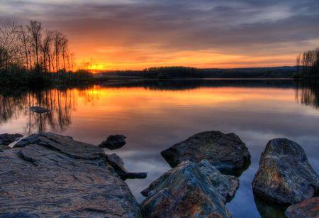 Beautiful sunset on Chambers Lake, Pennsylvania.