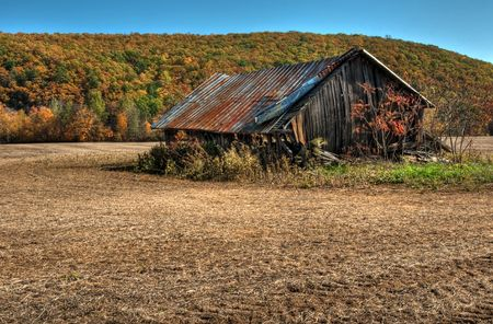 wood agricultural: Old weathered barn in Autumn