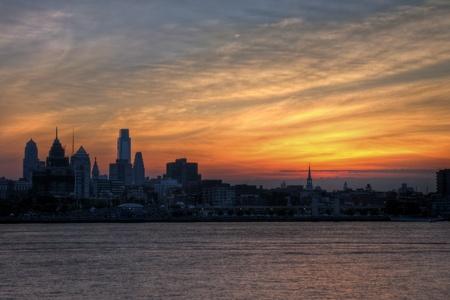 philadelphia: Philadelphia Skyline at Sunset Stock Photo