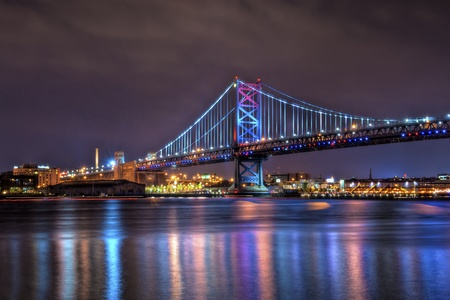 The Benjamin Franklin Bridge (also known as the Ben Franklin Bridge), originally named the Delaware River Bridge, is a suspension bridge across the Delaware River connecting Philadelphia, Pennsylvania and Camden, New Jersey. photo