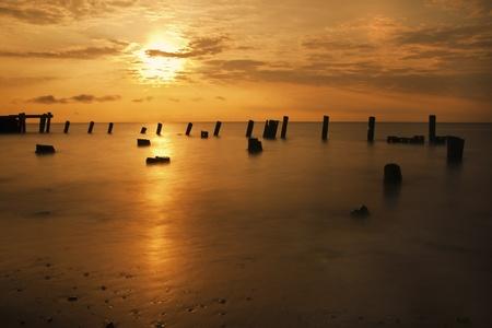 Beautiful golden sunrise on the Delaware Bay. Stock Photo - 10257555