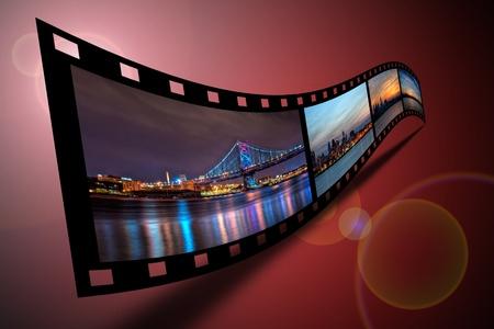 Scenes of Philadelphia on a strip of film.