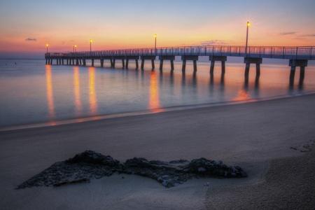 Sunrise at Woodland Beach Fishing Pier, Delaware. Stock Photo