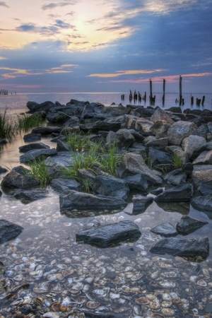 Scenic image of sunrise on the Delaware Bay. Stock Photo