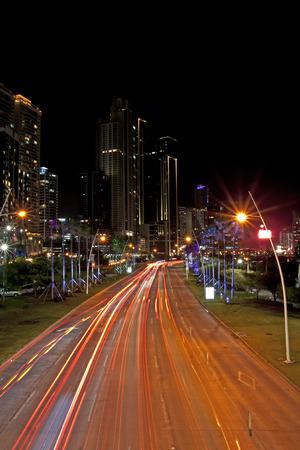 Night traffic on Balboa Avenue, Panama City, Republic of Panama