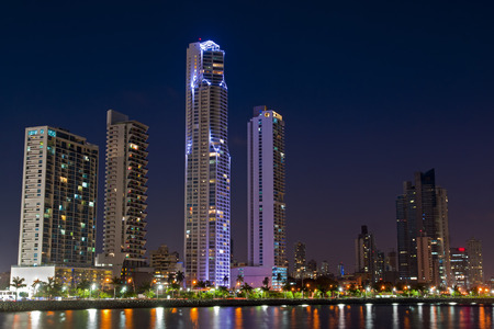 isthmus: Skyline of Panama City, Panama at night