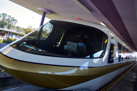 Walt Disney World Monorail Gold arriving at the station. Photo taken on: 1292015