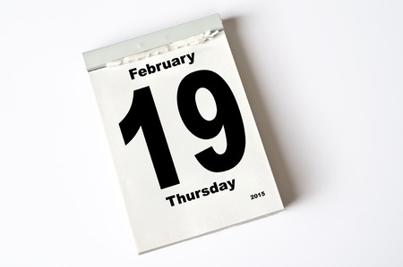 19: calendar sheet 19 February 2015
