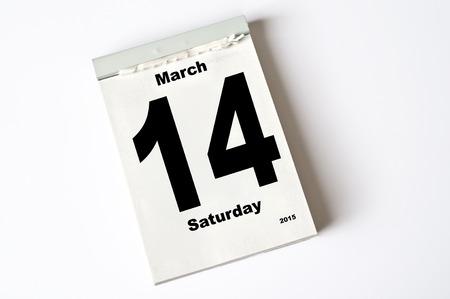 14: hoja de calendario 14. marzo 2015 Foto de archivo
