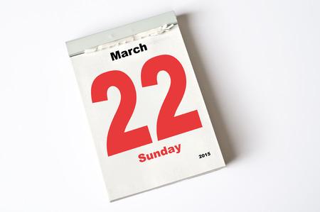 march: calendar sheet 22. March 2015