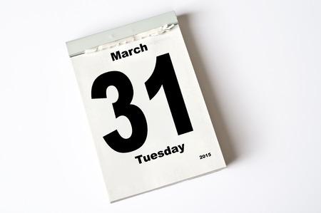 31: calendar sheet 31. March 2015