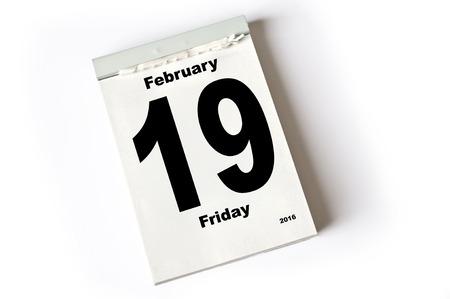 laken: kalender sheet februari 2016 Stockfoto