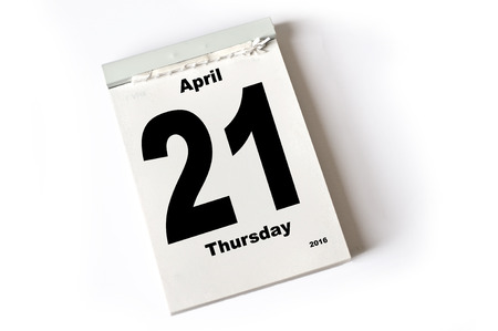 laken: kalender blad .April 2016