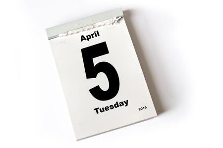 laken: calendar sheet .April 2016
