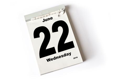 laken: calendar sheet June 2016
