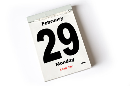 day time: calendar sheet February 2016 Leap Day