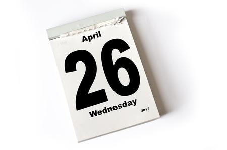 calendar sheet April 2017