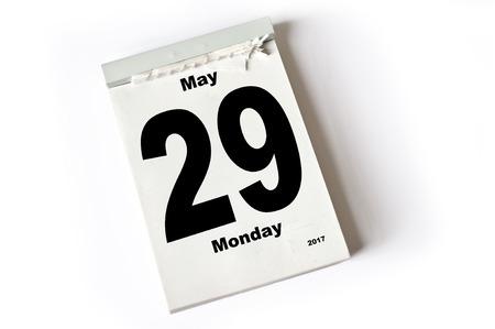 calendar sheet May 2017