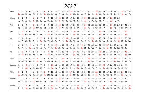 2017 years calendar