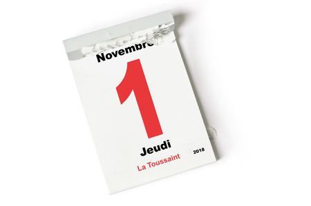 feuille du calendrier