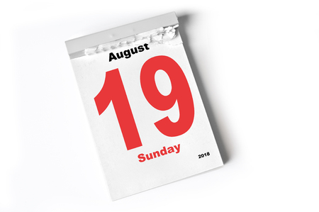 calendar august 19 Stock Photo