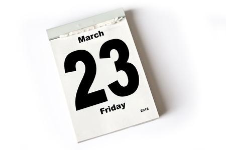 calendar sheet March 2018