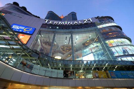 BANGKOK, THAILAND - 7th MAY 2018: Shopping mall Terminal 21 and walkway at the front side which connected to the BTS sky train station