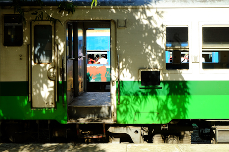 Side view of a container of traditional train at the platform