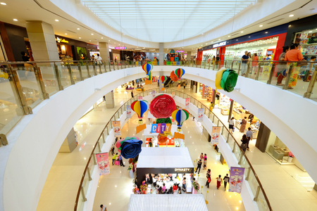 YANGON, MYANMAR - 23rd SEPTEMBER 2018: City Mall Saint John at the corner of Pyay Road and Min Ye Kyaw Zwa Road, people enjoy around shopping area inside mall every floors, ground floor having booths Editöryel