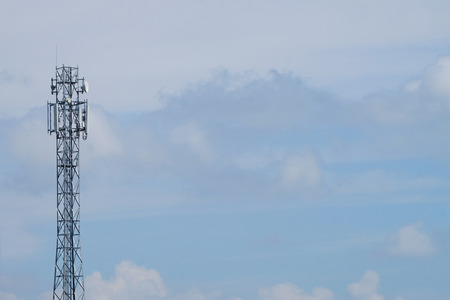 Giant antenna on blue sky and white cloud background Banco de Imagens