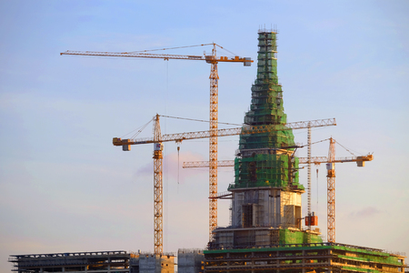 BANGKOK, THAILAND - 28th APRIL 2019: Top of new Thai parliament, Building has been under construction, still and not yet finished 報道画像