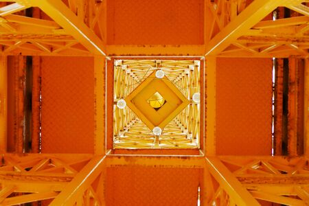 Bottom view of steel high tower structure 스톡 콘텐츠