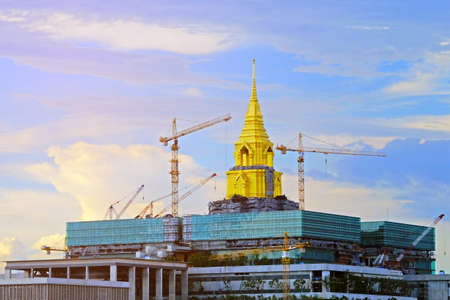 BANGKOK, THAILAND - 29th MAY 2020: Top of new Thai parliament, Building has been under construction, still and not yet finished