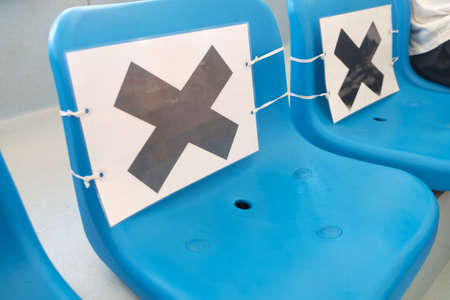 Social distancing policy applied on seats in stadium during Covid-19