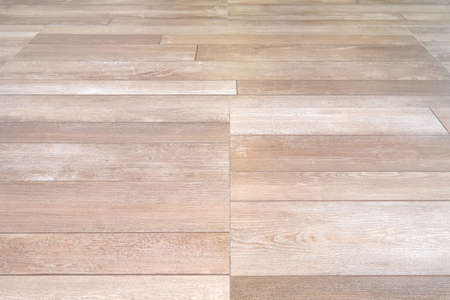 Perspective top view of light brown color wood surface floor