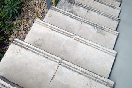 Top view outdoors cement down stairs beside wall