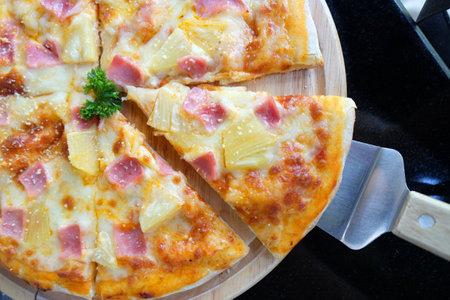 Top view of Hawaiian pizza