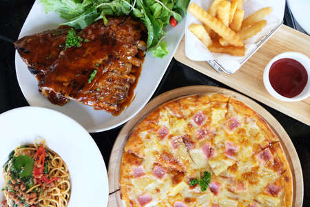 Top view of American or European big meal