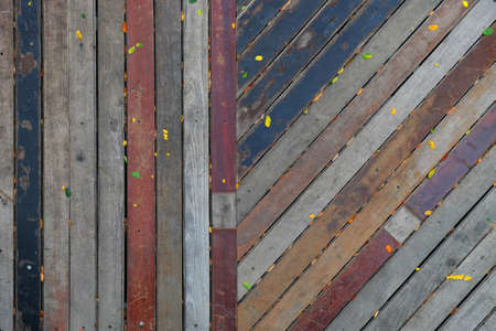 Top view timber material floor arranged in vertical and tilted pattern orientation