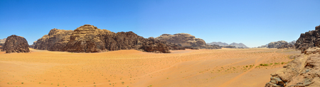 Panoramic view of Wadi Rum desert, Jordan 免版税图像