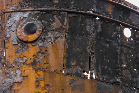 Rusty shipwreck on the coast at Djupavik, Iceland. Archivio Fotografico