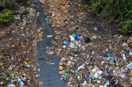 The river flowing through Kibera slum in Nairobi, Kenya