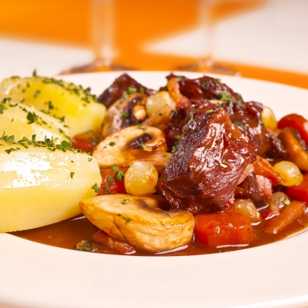 stew: plate of beef bourguignon
