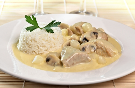 Food photography of a blanquette of veal  Veal in a white sauce