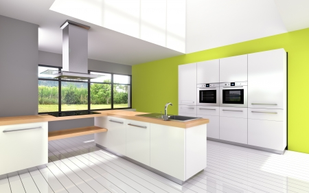 3d modeling and rendering a kitchen Stock Photo