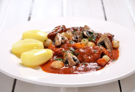 epicurean: plate of Veal marengo Stock Photo